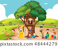 Children playing at tree house 48444279