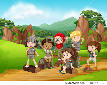 Group of scout kids scene 48444307