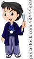 A boy wearing Japanese traditional yukata 48444339