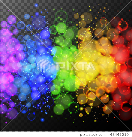 Colorful rings of light on black background 48445010
