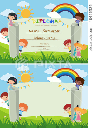 Diploma and card template with kids in the park 48446526