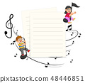 Two Kids riding music notes with paper blank  48446851