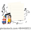 Boy and girl riding music notes with paper blank  48446853