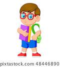 young teenager with school backpack and books 48446890