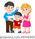 happy young family with one child standing  48446906