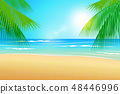 Illustration Summer beach and palm trees 48446996