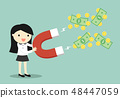 Business woman attracting money with large magnet 48447059