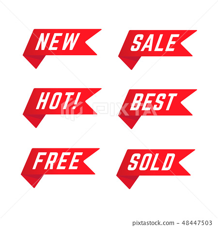 Set of Red Promotional Ribbons. 48447503