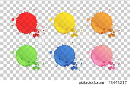 Watercolor splashes in six colors 48448217