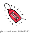 Doodle red save tag label. 48448342