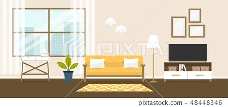 Interior of the living room. Design of a cozy room 48448346