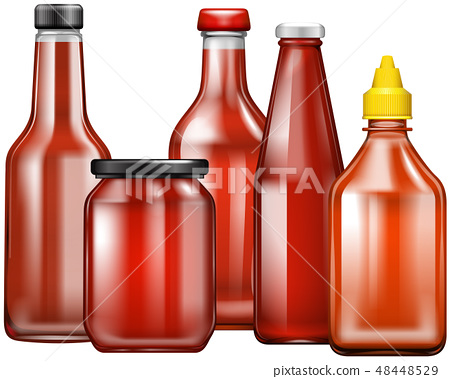 Different design of bottles for sauce 48448529