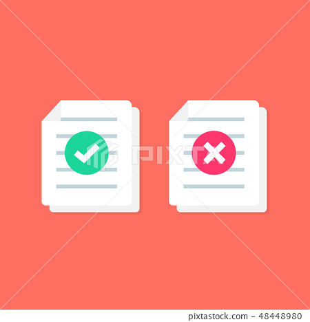 Document or Paper icon with Check mark  cross sign - Stock