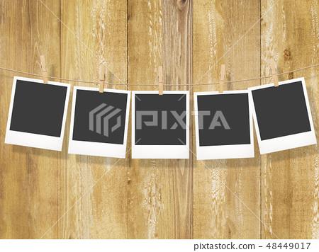 Template - Polaroid - Frame - Wood grain - clip 48449017
