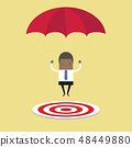 Businessman with parachute focused on a target. 48449880