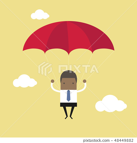 African businessman with parachute in the sky. 48449882