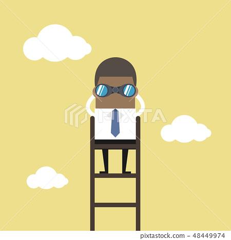 African businessman on a ladder using binoculars. 48449974