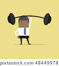 Businessman holding a heavy barbell with one hand. 48449978