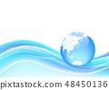 푸른 지구와 웨이브 추상 배경 - 벡터 일러스트 48450136