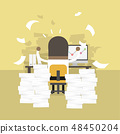 African businessman very busy on office table. 48450204