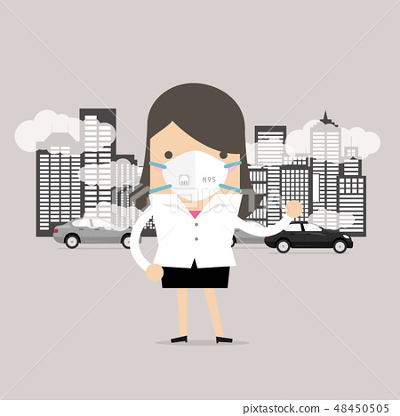 Businesswoman wearing protective mask. 48450505