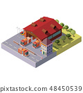 Vector 3d isometric fire station. Municipal service 48450539