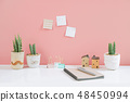 Cactus clay pots with sticky note on pink wall. 48450994