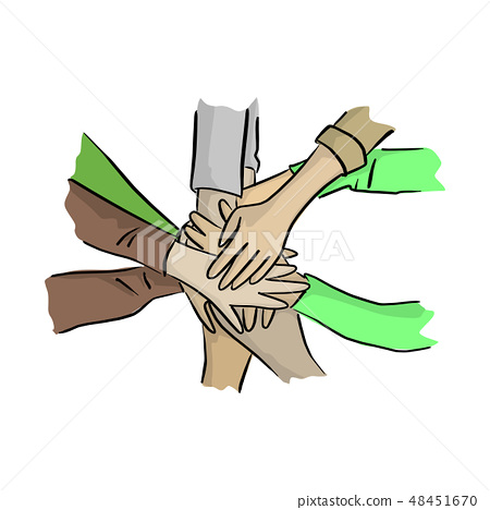 hand together with help vector illustration  48451670