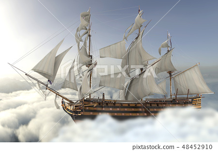 Sailboat flying above the clouds 3d illustration 48452910