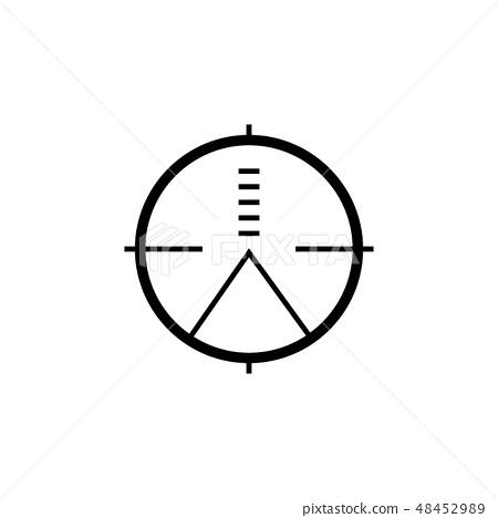 Military sniper rifle scope collimator sight icon. 48452989