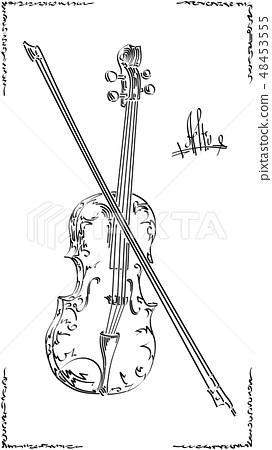 Graphic arts sketch of drawing alto with bow. 48453555