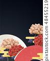 Background Material - Board - Washi - Peony - Japanese Pattern - Chinese - Fan - Black Washi 48455219