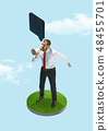 Business man screaming with a megaphone on blue sky background 48455701