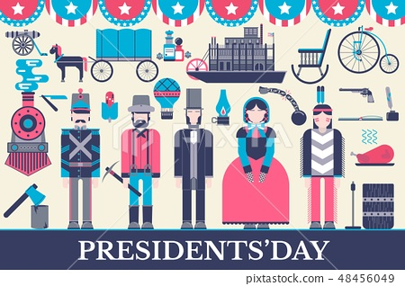 President Abraham Lincoln day with historical XIX (19) century elements flat icon set. Vector people 48456049