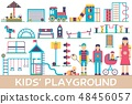 Kids playground field with many staff equipment background icons set. Vector flat fun outdoor park 48456057