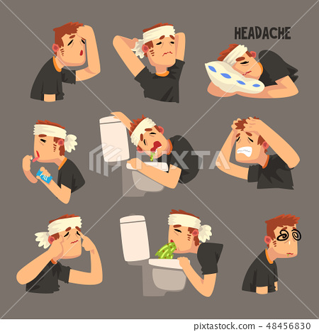Sick man with a bandaged head, with a headache set, person suffering from headache, nausea, vomiting 48456830