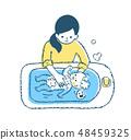 แม่และเด็กอาบน้ำสีฟ้า 48459325