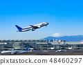 [이륙】 후지산과 비행기 48460297