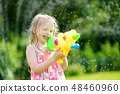 Adorable little girl playing with water gun  48460960
