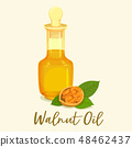 Bottle with walnut or nut oil near groundnuts 48462437