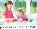Two sisters having fun with modeling clay  48463501