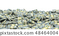 Pile of packs of dollar bills banknotes. . 48464004