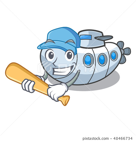 Playing baseball miniature submarine in the character shape 48466734