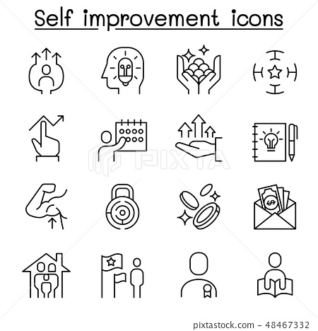 Self improvement, development, planning icons 48467332