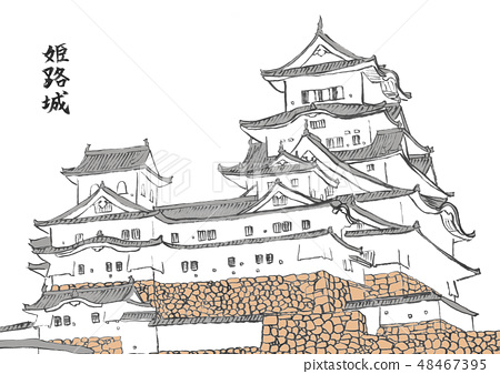 Himeji Castle 100 Great castle illustration 48467395