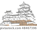 Himeji Castle 100 Great castle illustration 48467396