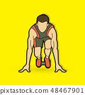 Athlete runner, A man prepare start running vector 48467901