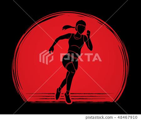 Athlete runner, A woman runner running vector 48467910