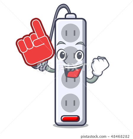 Foam finger isolated power strip with the mascot 48468282