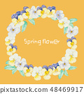 蝴蝶花裝飾框架春天和冬天 48469917